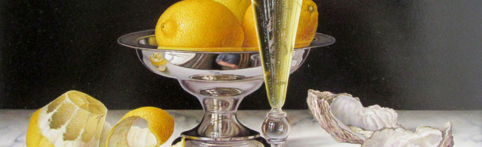 Roy Hodrien – Lemons in a Silver Bowl, Peeled Lemon, Glass of Champagne and Oyster