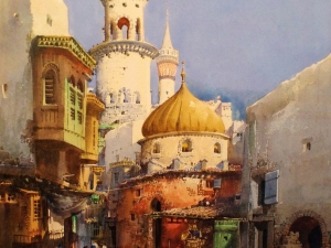Noel Leaver Middle Eastern Street Scene Painting