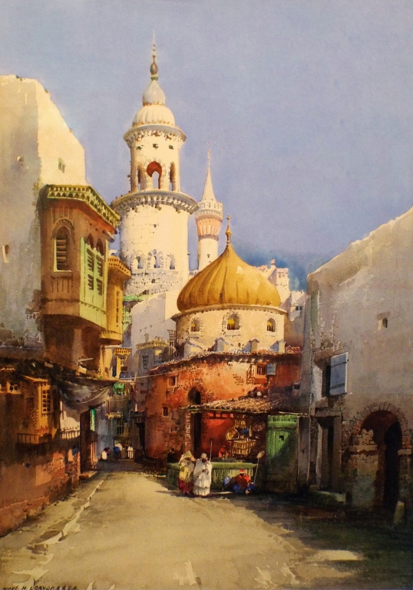Noel Leaver Middle Eastern Street Scene Painting
